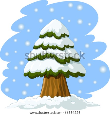 Spruce Tree Cartoon Cartoon Spruce in The Snow