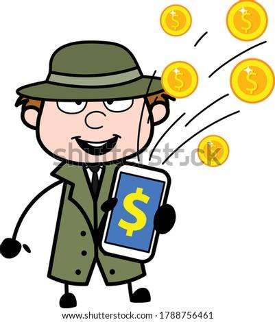 cartoon spy showing mobile money