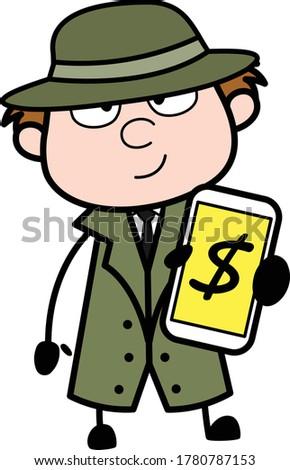 cartoon spy showing money in