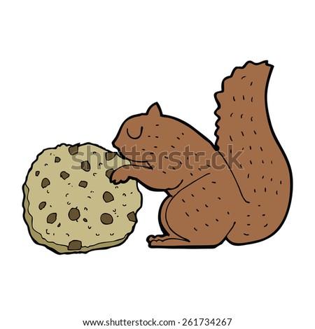cartoon squirrel eating a cookie