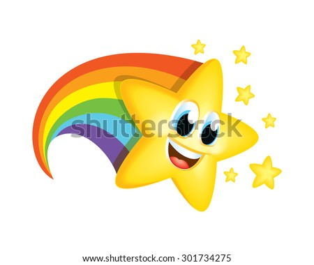 cartoon star with rainbow tail