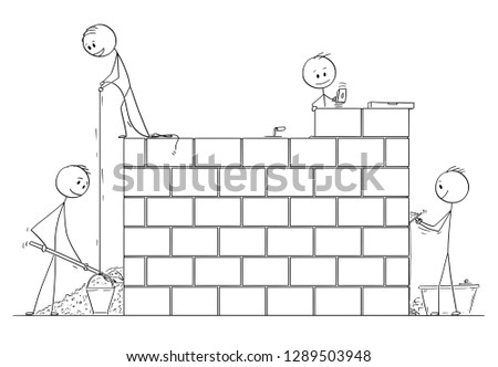 Cartoon stick drawing conceptual illustration of group of masons or bricklayers building a wall or house from bricks or stone blocks.