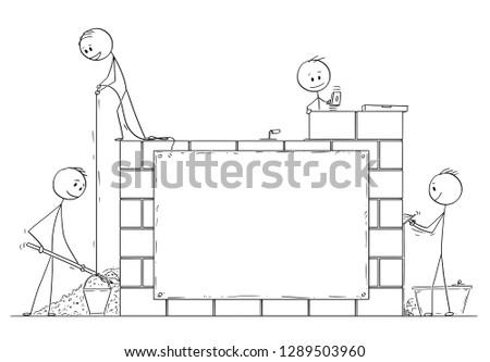 Cartoon stick drawing conceptual illustration of group of masons or bricklayers building a wall or house from bricks or stone blocks. There is empty sign for your text.