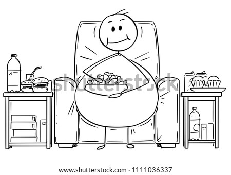 Cartoon stick drawing illustration of fat or overweight man sitting on armchair, watching tv or television and eating unhealthy food. Concept of unhealthy lifestyle. Foto stock ©