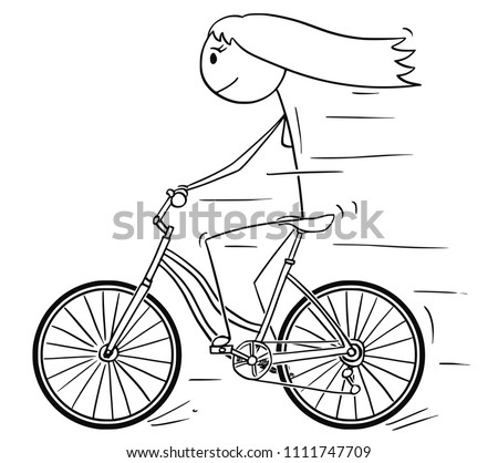 Cartoon stick drawing illustration of woman or girl riding or cycling on bicycle.