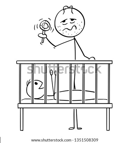 Cartoon stick figure drawing conceptual illustration of dead tired parent or father entertaining baby in cot in night with rattle.