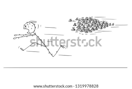 Cartoon stick figure drawing conceptual illustration of man running in panic away from attacking swarm of bees or wasps.