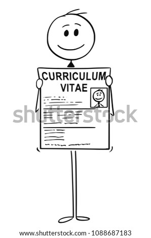 Cartoon stick man drawing conceptual illustration of businessman job seeker applicant holding curriculum vitae or cv or resume. Business concept of career start and job seeking.