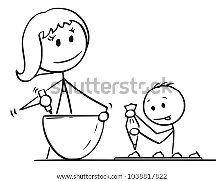 Free Mom And Child Cooking Illustration