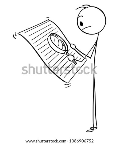 Cartoon stick man drawing conceptual illustration of upset businessman reading document with magnifying glass to find small text or hidden conditions.