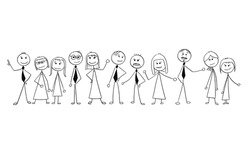 Cartoon stick man drawing illustration of crowd of eleven business people, men and women, businessmen and businesswomen standing and posing.