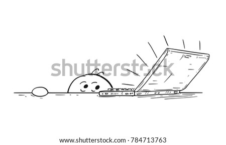 Cartoon stick man drawing illustration of man businessman student feared scared of the laptop notebook computer on the table. Character is hidden under the desk.