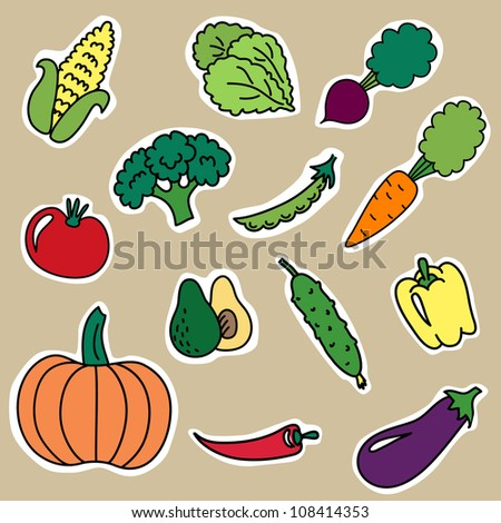 Cartoon stickers with vegetables