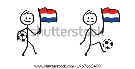 Cartoon stickman with the flag of the Netherlands and football. Stick figure man with soccer ball. Vector sport icon. Sport finale or school game cup. Dutch or Holland sign. For EK, WK  banner.  2021 Stok fotoğraf ©