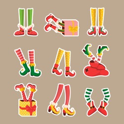 Cartoon stikers elf shoes and socks. Shoes for elves feet, feet of gnomes-assistants of Santa Claus in a set of pants. Shoes, funny striped socks and boots. Vector illustration