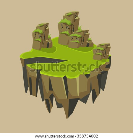 cartoon stone grassy isometric