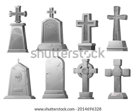 cartoon stone grave crosses and