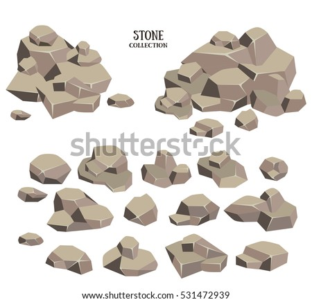 cartoon stone set grey rock