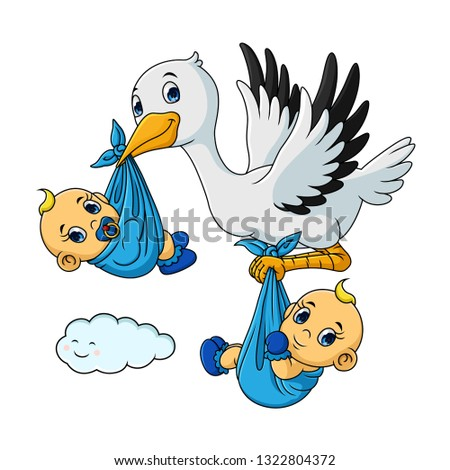 cartoon stork with twin baby