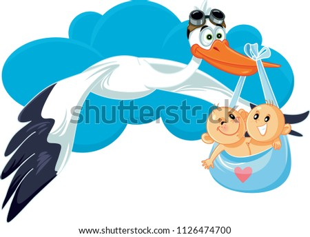 Cartoon Stork with Twins Vector Illustration. Cute baby shower announcement for two babies at once   Сток-фото ©