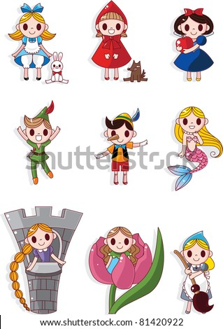 cartoon story people icons set