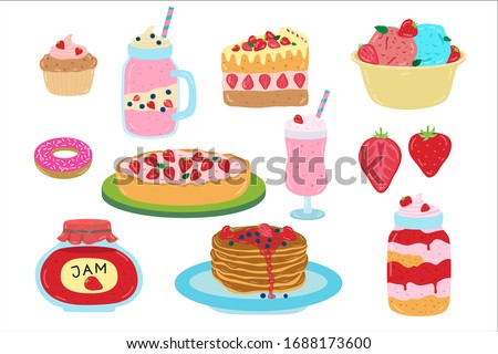 Cartoon strawberry sweets, dessert, vector illustration. Set of flat stickers isolated on white. Strawberry confectionery, homemade pancakes with jam, kraft cupcakes, delicious ice cream and cocktail. Foto stock ©