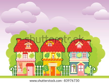 Cartoon street with three colorful houses