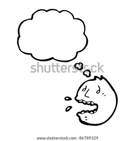 cartoon stressed emoticon face with thought bubble