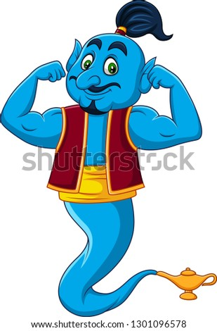 Cartoon strong genie isolated on white background