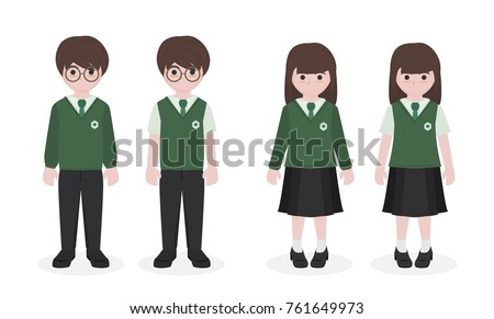 cartoon student in school