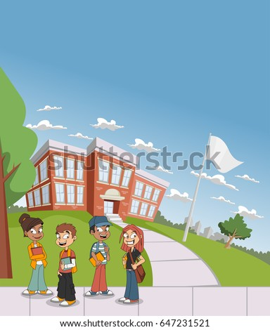 cartoon students in front of