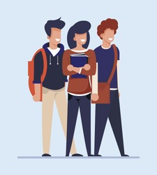 Cartoon Students Look for Cheap Flat, Apartment or Room for Rent. Happy Smiling Male and Female Characters, Young People Group Stand Isolated on White. Flatsharing, Share Housing. Vector Illustration