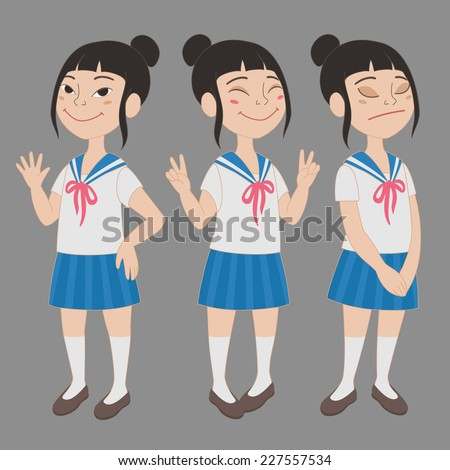 cartoon style asian girl in