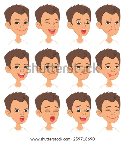 Cartoon Style Caucasian Boy Head. Vector Set of Different Emotions Icons. Easy to modify and edit. Isolated on white background