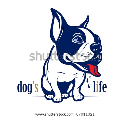 cartoon style french bulldog smile