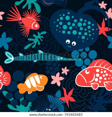 cartoon style funny fish