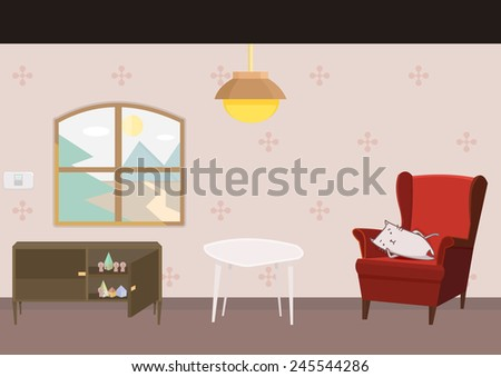 cartoon style furniture and a
