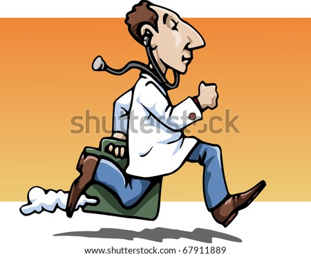 Cartoon-style illustration: a funny running doctor, wearing a white-coat, bringing his working bag. A stethoscope hanging from his ears. Orange background