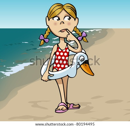 Cartoon-style illustration: a little cute blonde girl with a swan-shaped lifebuoy at the beach