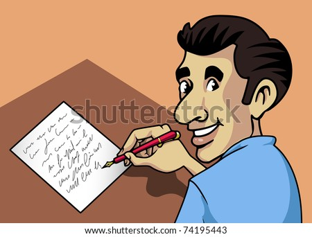 Cartoon-style illustration: a smiling man writing a letter with a fountain-pen and paper