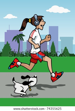 Cartoon-style illustration: a young woman is running with her small dog. She wears headphones. Skyscrapers and trees on the background