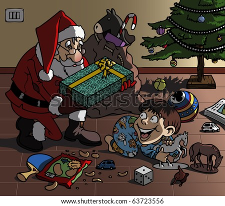 Cartoon-style illustration. Christmas scene: Santa Claus brings a wonderful gift to a cute kid, playing on the floor with his toys