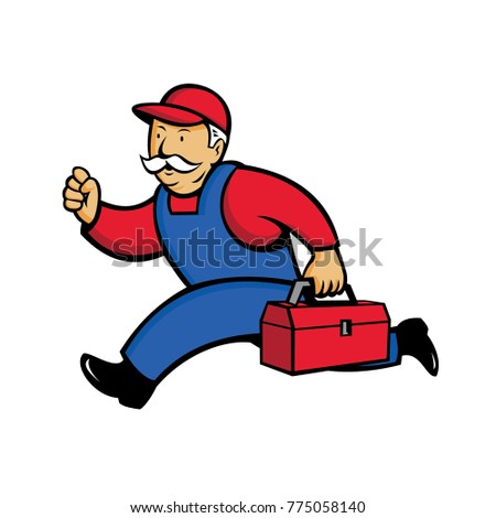 Cartoon style illustration of an aircon technician, Air Conditioning Service Technician, mechanic or repairman running with toolbox viewed from side on isolated background.