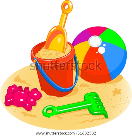 stock vector : Cartoon style illustrations of a beach ball, pail,