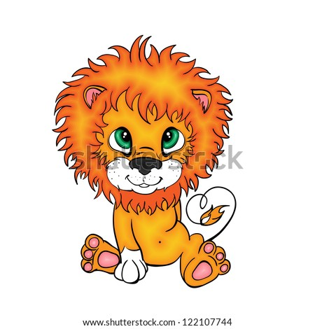 Cartoon style little lion  cub/isolated on white