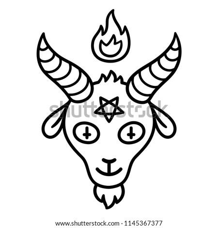 Fire Pentagram Satanic Sign Gothic Style Vector Illustration