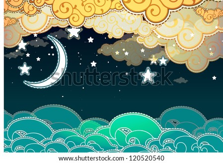 cartoon style sea and clouds at