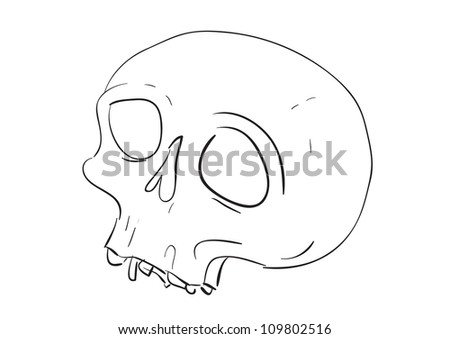 cartoon style skull, simple vector illustration.