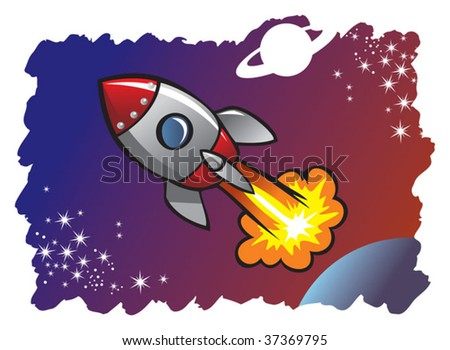 Cartoon style spaceship or rocket flying in the space among planets and stars, vector illustration