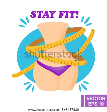 Cartoon style vector illustration. Fitness and weight loss concept. Waist with measuring tape.